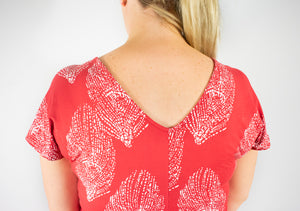 Gabrielle Knot Dress - Red Leaf