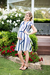 Cap Sleeve Dress (Stripe)
