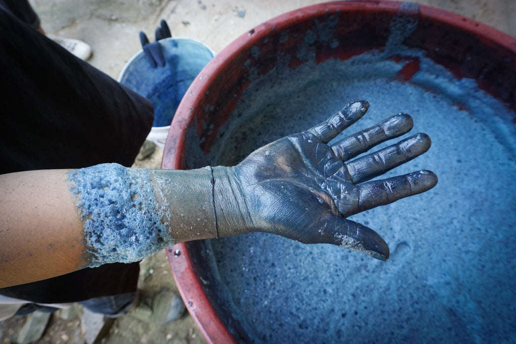batik dyeing indigo hands process