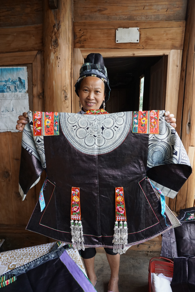 Miao woman artisan China indigo batik