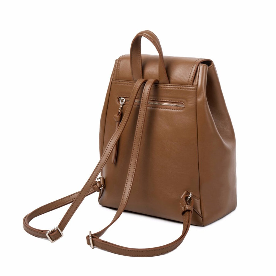 backpack back leather brown straps