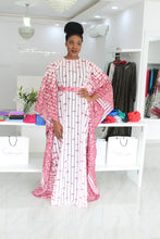 Ama Lade Wine Abstract Border  Kaftan