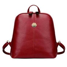Plain elegant leather backpack - Cozy