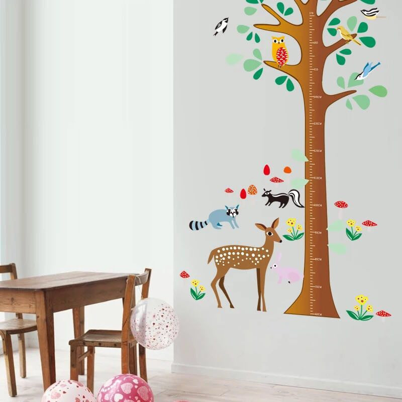 Tree & Animals Height Chart Wall Decal
