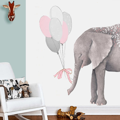 Elephant With Balloons Wall Decals For Nursery