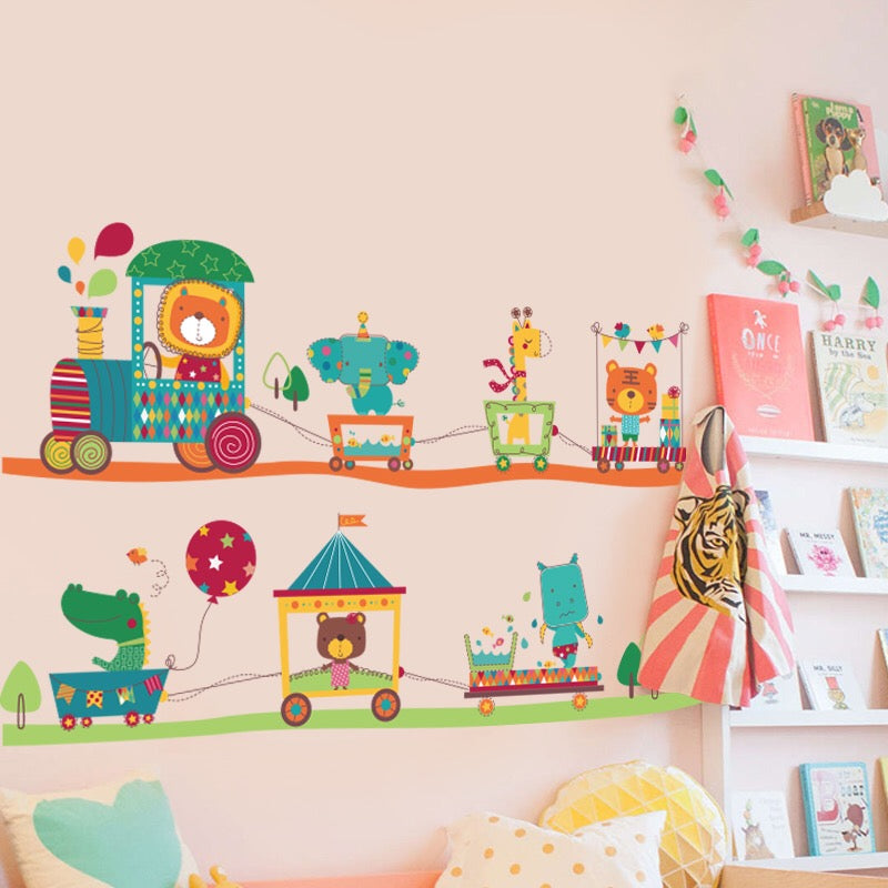 Animals Train Wall Decals