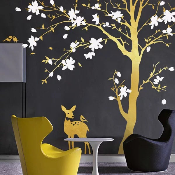Big Tree With Deer Wall Decal