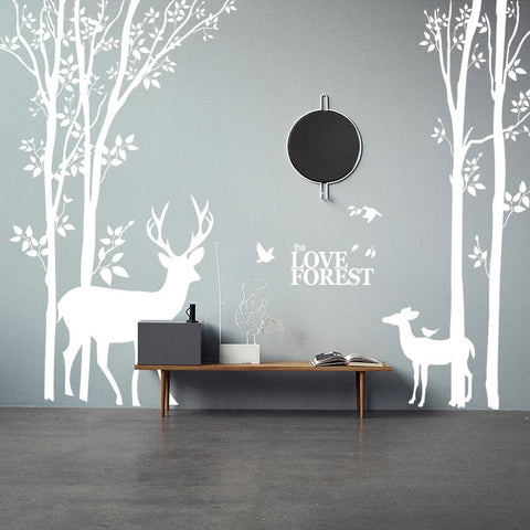 Birch Tree With Deer Wall Decals