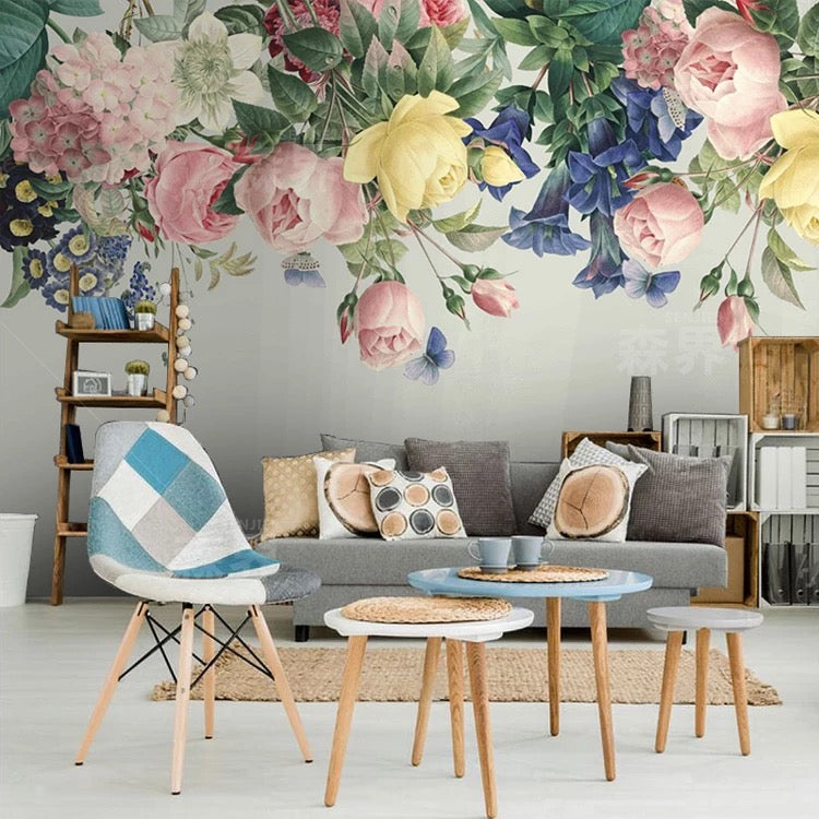 Multi Color Flowers Wall Mural