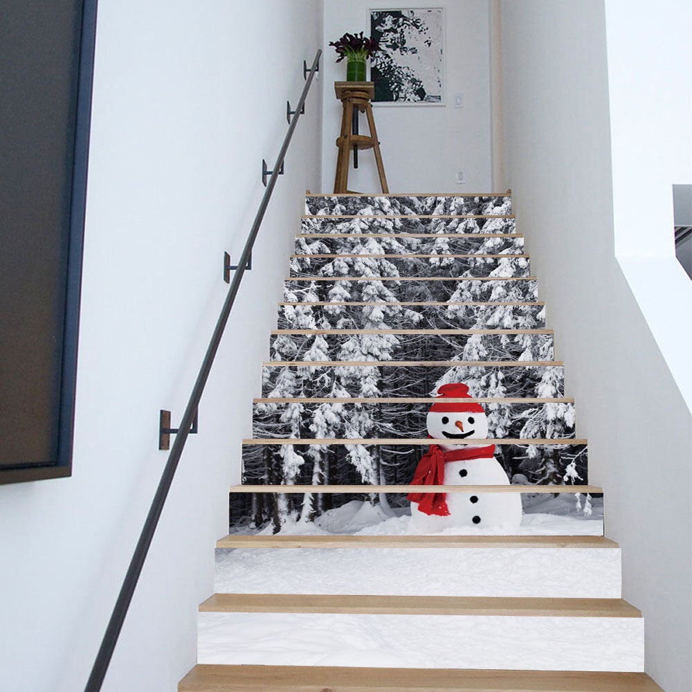 3D Christmas Stair Decals