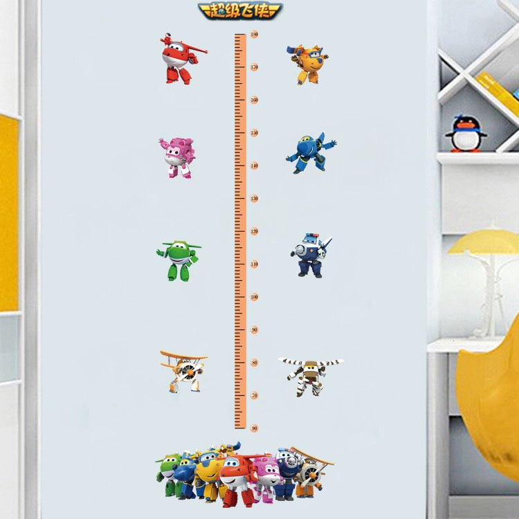 Super Wings Height Chart Wall Decals