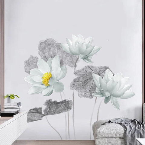 Large Lotus Flowers Wall Decals