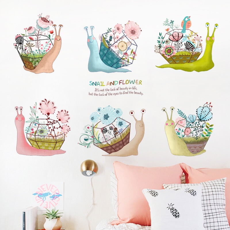 Snail & Flowers Wall Stickers