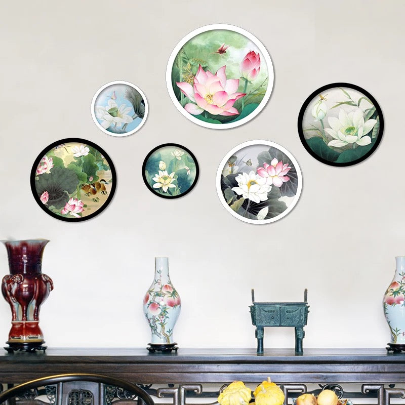Chinoiserie Lotus Flowers Wall Decals