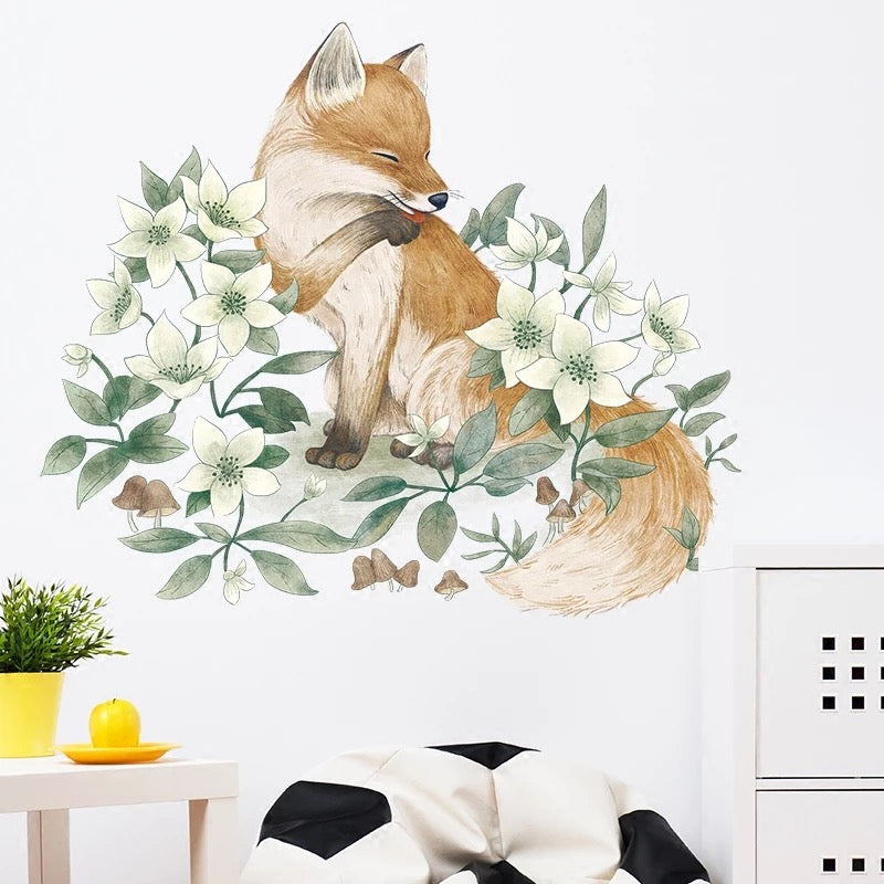 Fox & Flowers Wall Decals