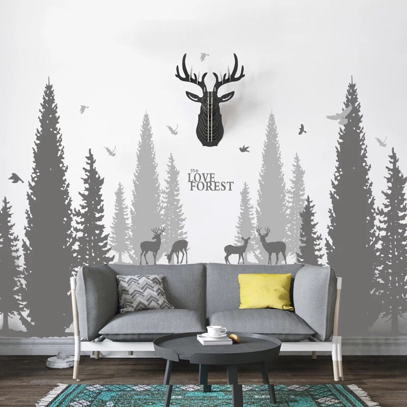 Pine Tree Forest Wall Decals