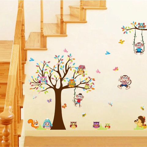 Tree With Happy Animals Wall Decals