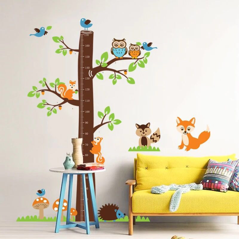 Birds & Tree Height Chart Wall Stickers
