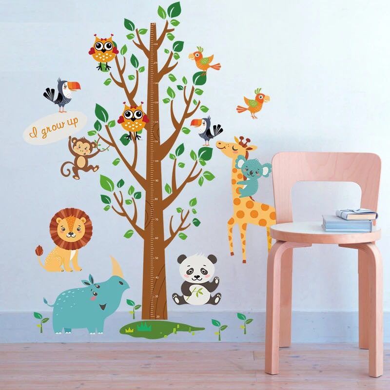 Animals & Tree Height Chart Wall Decal