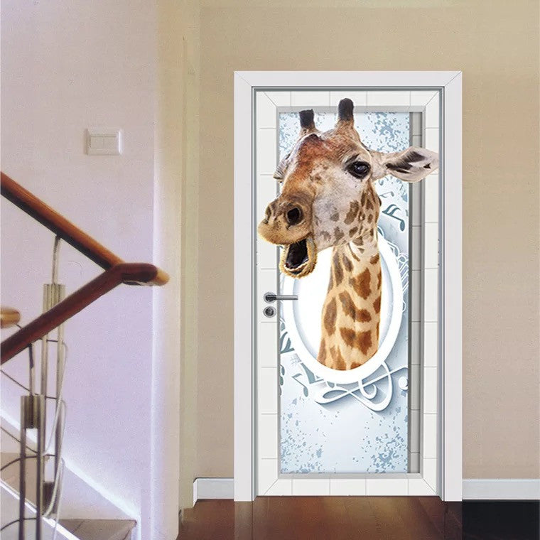 Giraffe Door Stickers