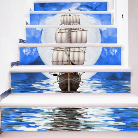 Sailing Boat Steps Stair Stickers