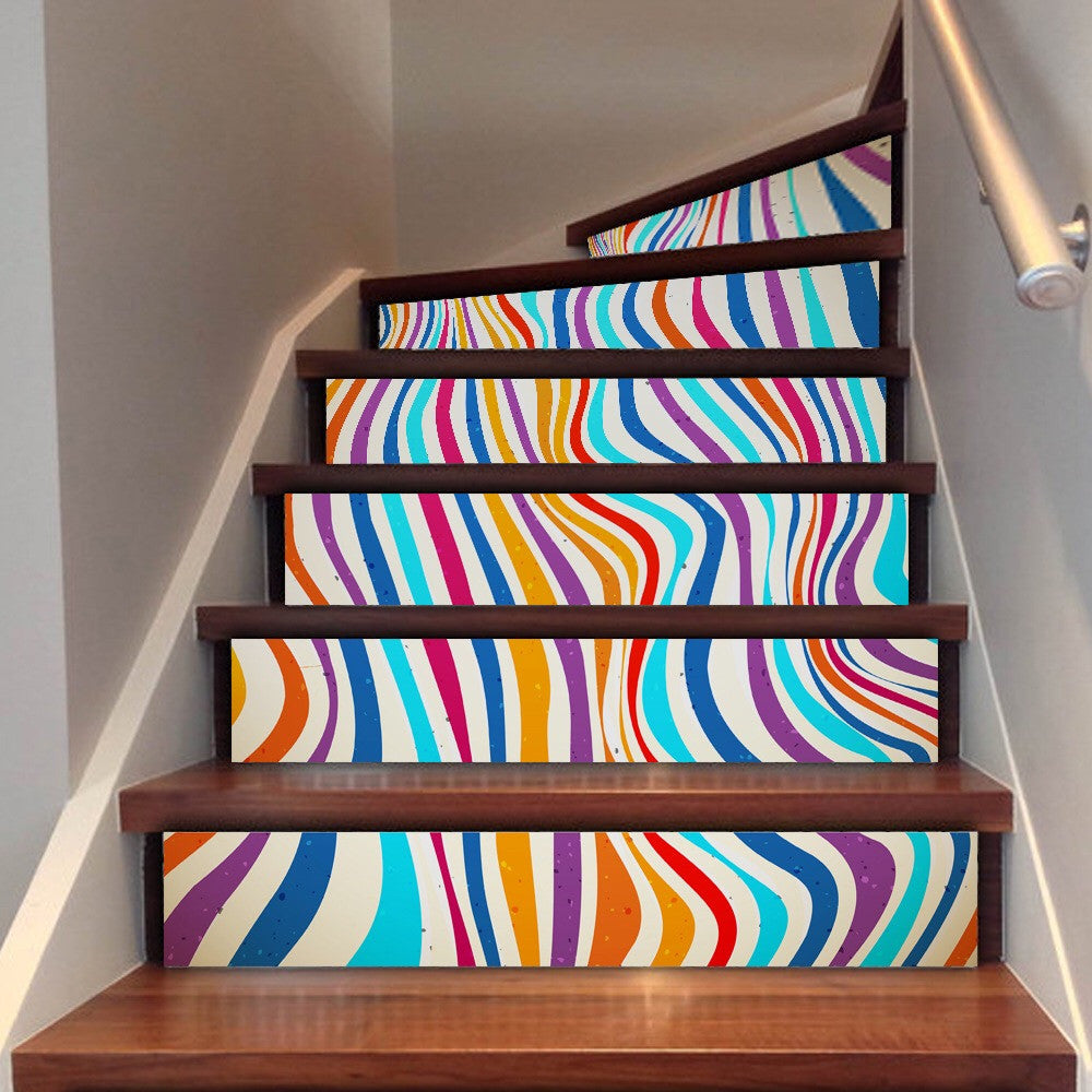 Colorful Stripes Steps Stair Stickers