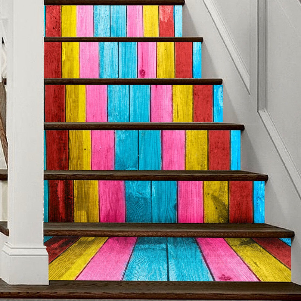 Colorful Wooden Steps Stair Stickers