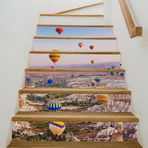 Hot Air Balloon Steps Stair Stickers