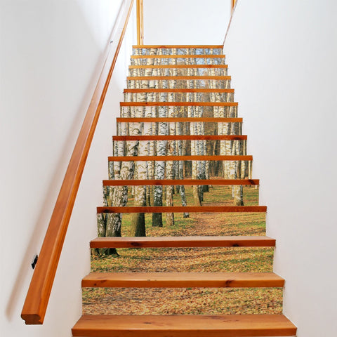 Birch Forest Steps Stair Stickers