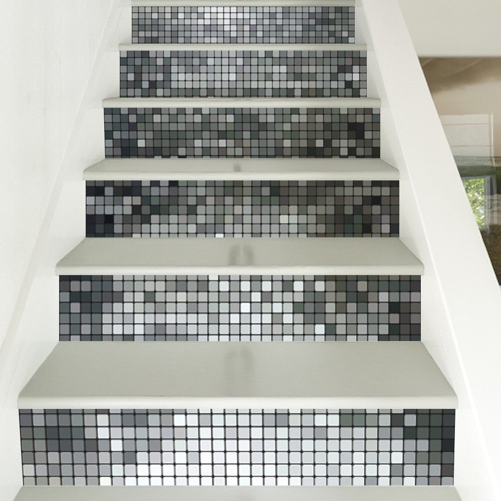 Silver Mosaic Steps Stair Stickers