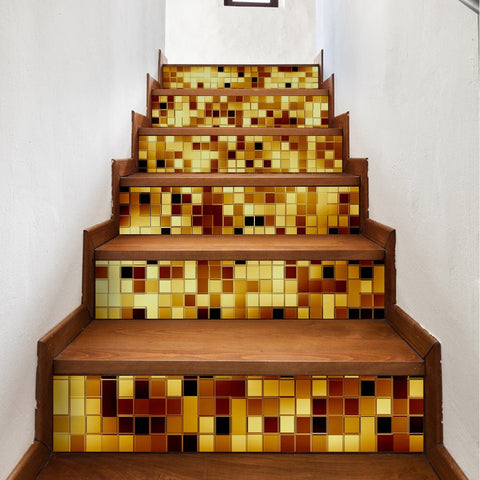 Gold Mosaic Steps Stair Stiakers