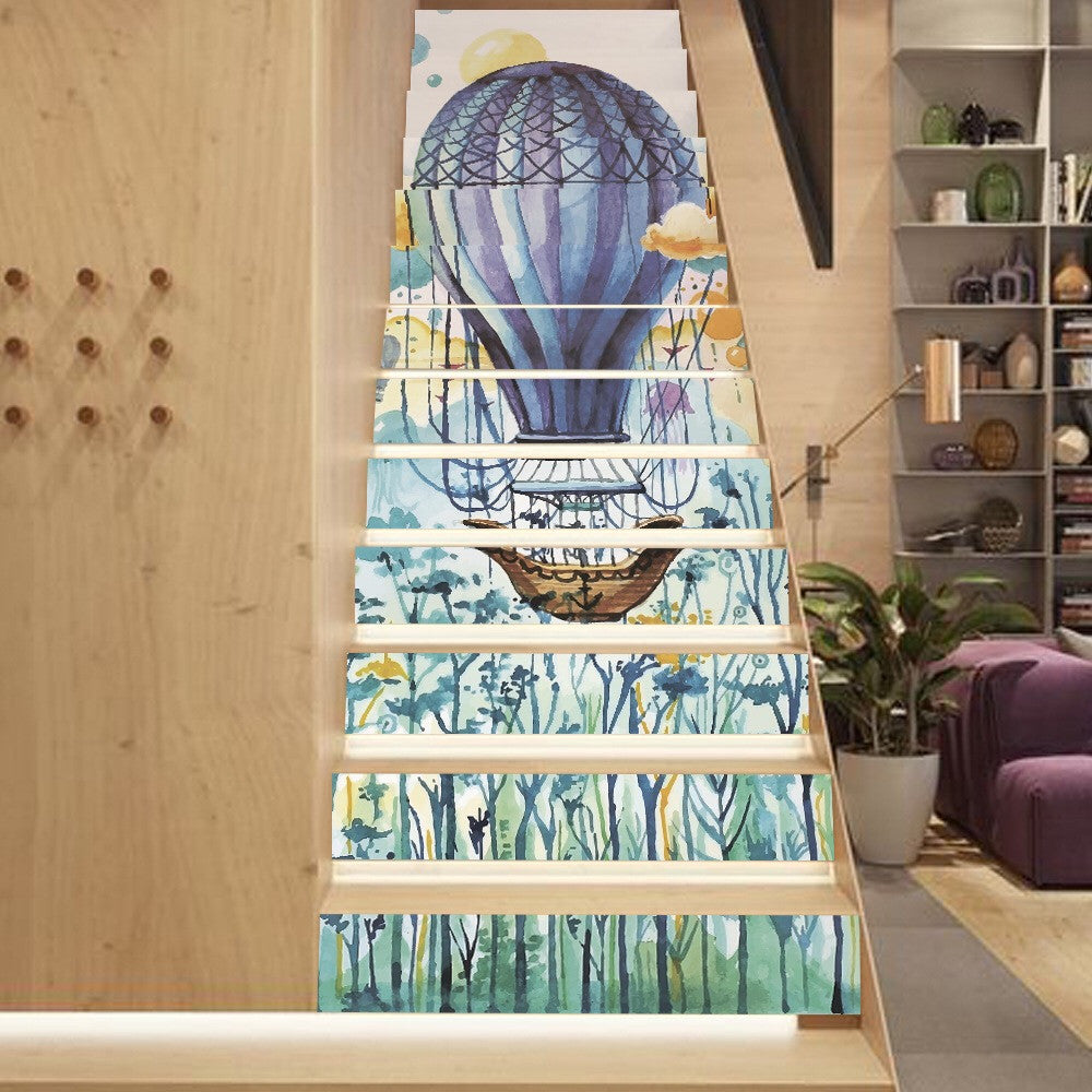 Watercolor Balloon Steps Stair Stickers
