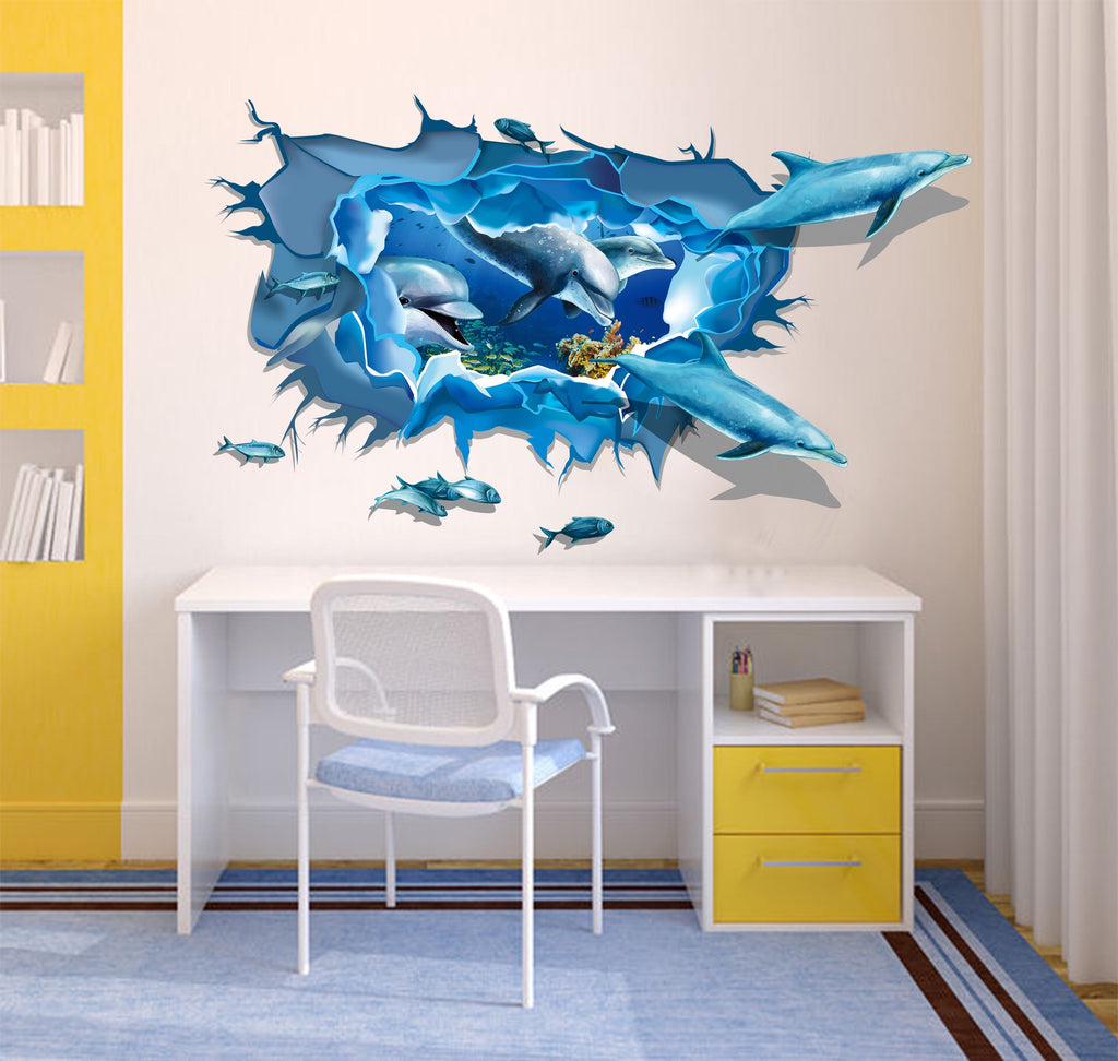 3D Dolphins Wall Sticker
