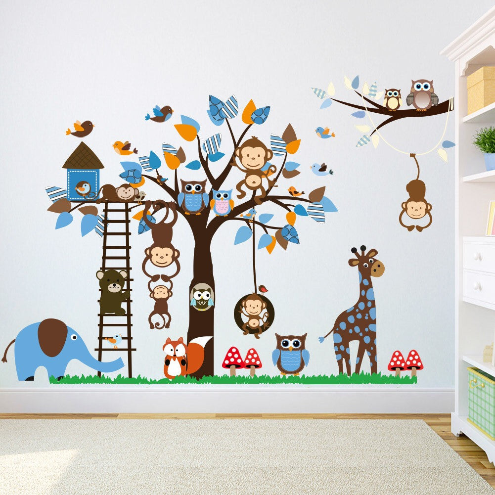 Animals Tree & Owls  Monkey Wall Decor