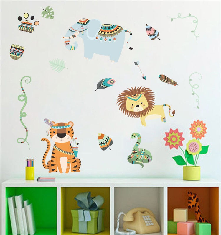 Elephant, Lion & Tiger Wall Stickers
