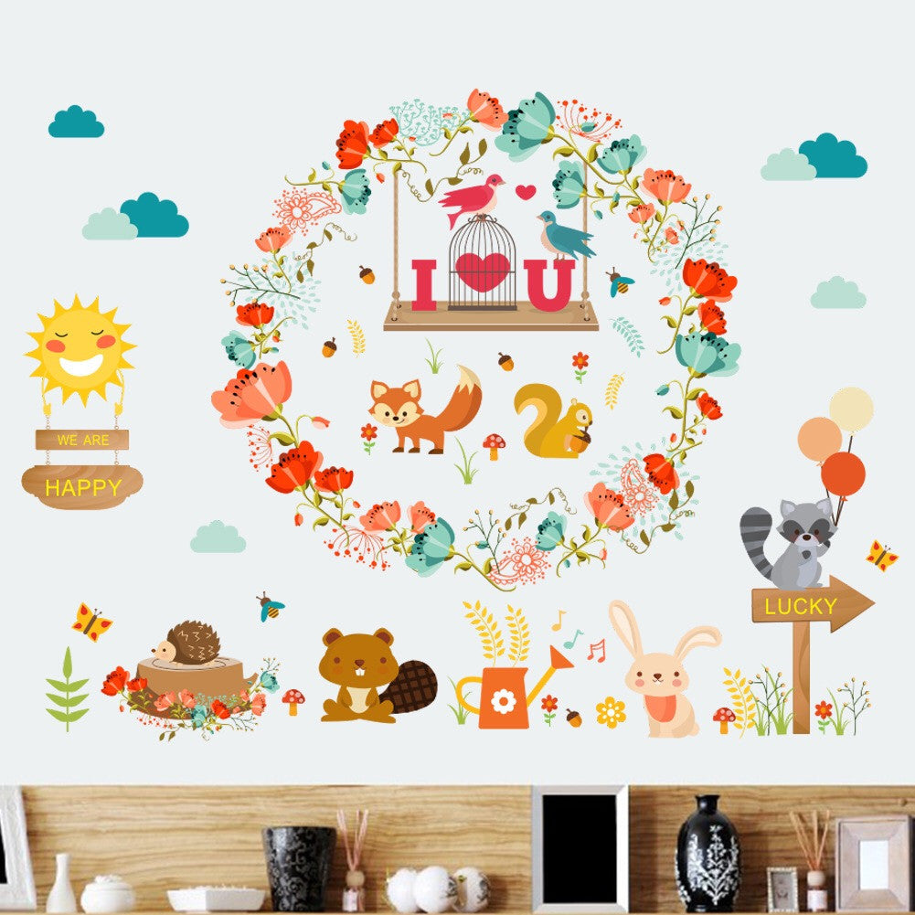 Flowers & Animals Nursery Wall Decals