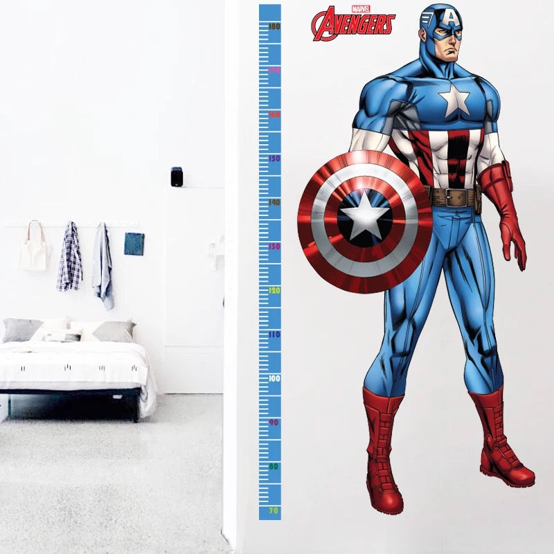Marvel Captain America Height Chart Wall Stickers