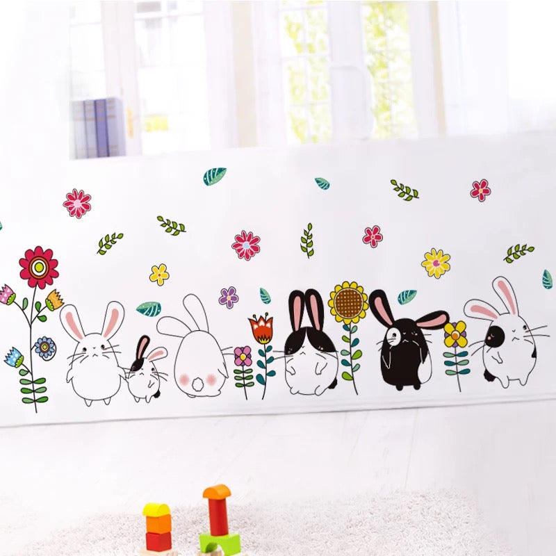 Rabbits & Flowers Wall Decals