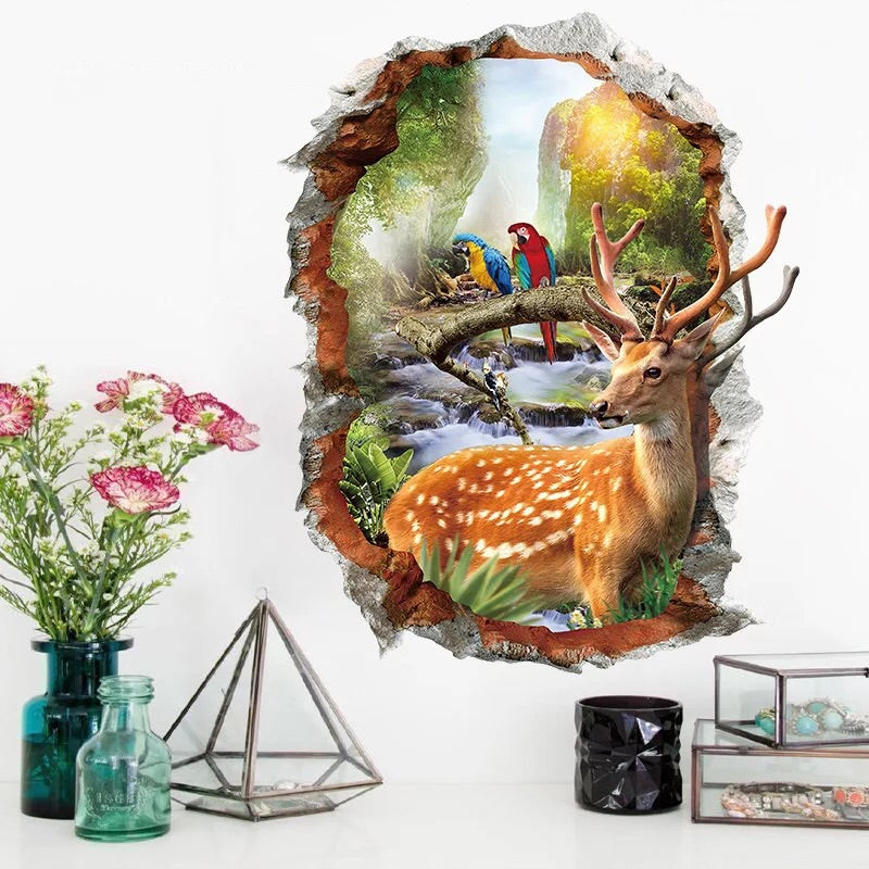 3D Wall Decals-Sika deer