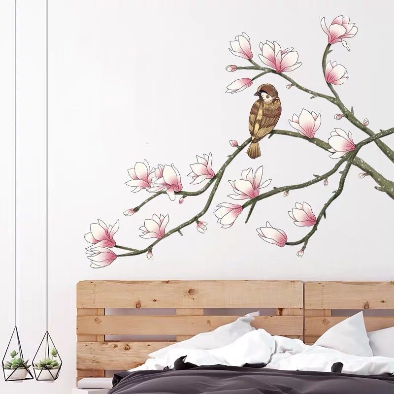 Magnolia Flower And Bird Wall Stickers