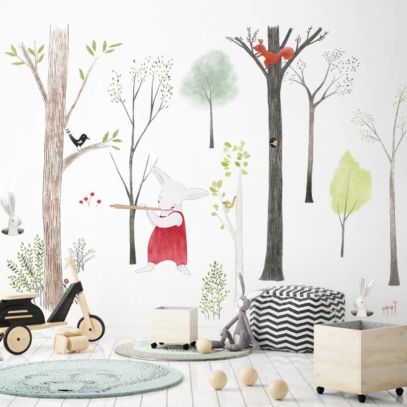 Forest Animals with Birch Trees Wall Decal