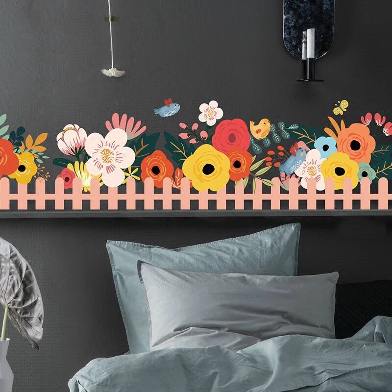 Flower Wall Border Fabric Wall Decal