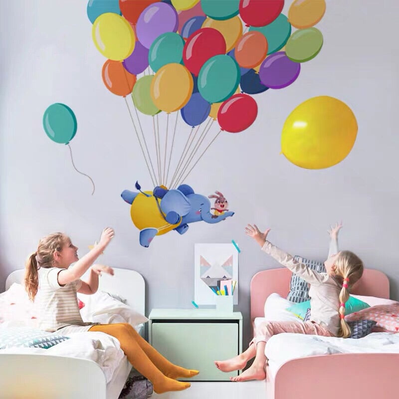 Elephant And Balloons Wall Stickers