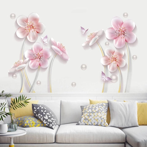 Pink Flowers Wall Stickers