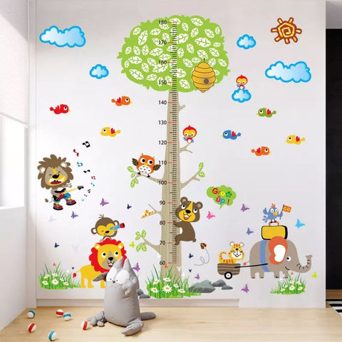Animals Tree Height Chart Decals