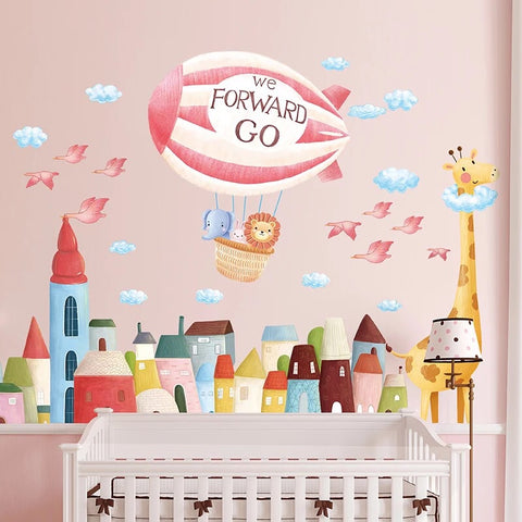 Hot Air Balloon Wall Decals-Giraffe Wall Stickers