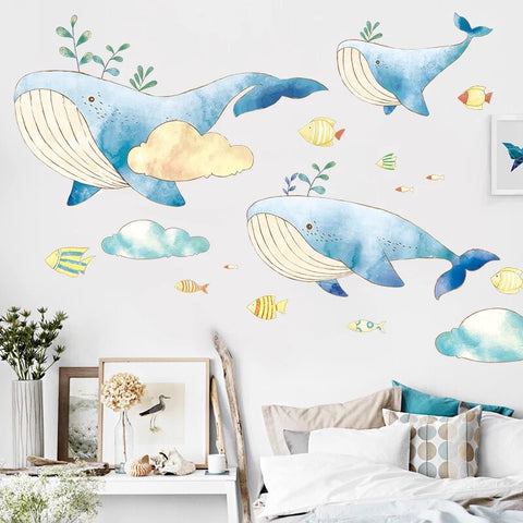 Ocean Whale Nursery - Ocean Wall Decals