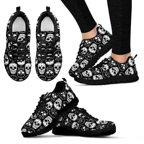 MONOCHROME SKULLS AND ROSES  - WOMEN'S