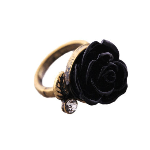 Vintage Gothic Adjustable Rose Ring