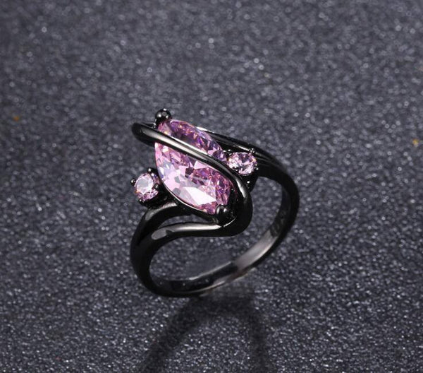 Amethyst Black Gold Plated Zircon Ring